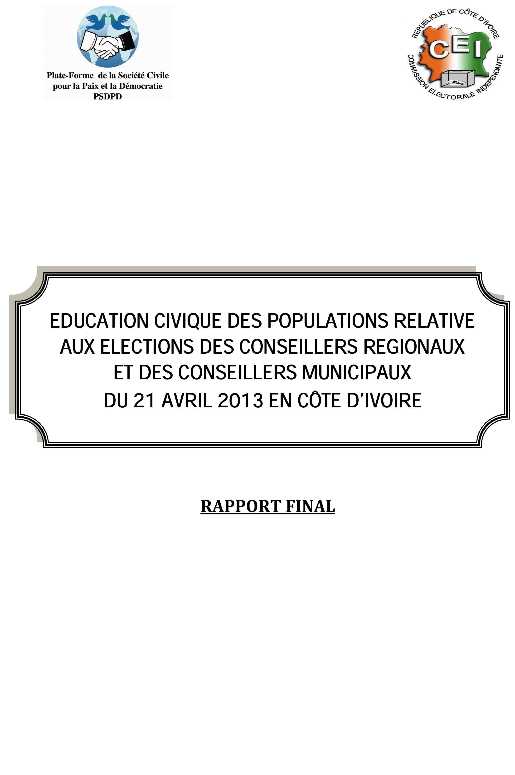 RAPPORT  SENSIBILISATION ELECTION COUPLEE 2013